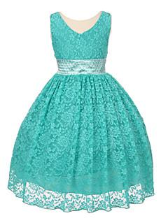 볼 드레스 바닥 길이 플라워 걸 드레스 - 레이스 민소매 V-넥 와 비즈 / 레이스