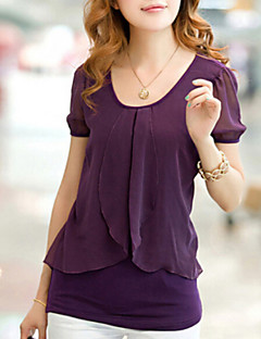 Women's Ruffle Casual Micro-elastic Short Sleeve Regular Blouse (Chiffon/Cotton Blends)