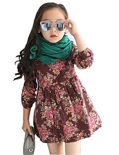 女の子の カジュアル/普段着 プリント コットン / レーヨン,ドレス 春 / 秋 ブルー / ブラウン / イエロー