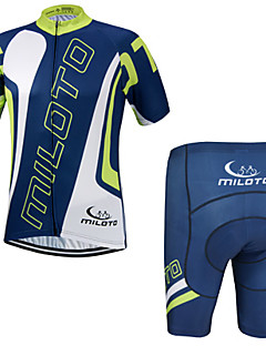 Miloto® Camisa com Shorts para Ciclismo Homens Manga Curta MotoRespirável / Secagem Rápida / Permeável á Humidade / Fecho YKK / Redutor