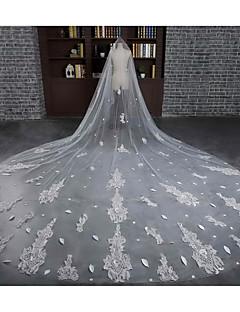 Свадебные вуали Один слой Фата для венчания Обрезанная кромка Тюль Кружево Цвет слоновой кости