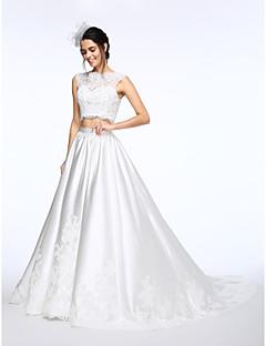 LAN TING BRIDE Da ballo Vestito da sposa Traforato Strascico da cappella Collo alto Di pizzo Raso con Con applicazioni Perline Bottoni