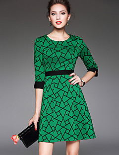Women's Casual/Daily Vintage Sheath DressPlaid Round Neck Above Knee  Sleeve Green Polyester All Seasons