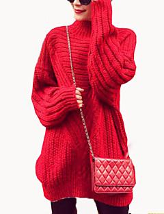 Damen Lang Pullover-Lässig/Alltäglich Einfach Solide Rot / Grau / Gelb Rollkragen Langarm Polyester Herbst Mittel