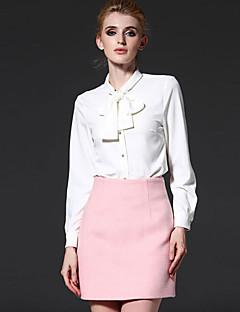 Langærmet Høj krave Medium Dame Hvid Ensfarvet Forår Simpel Arbejde Skjorte,Polyester