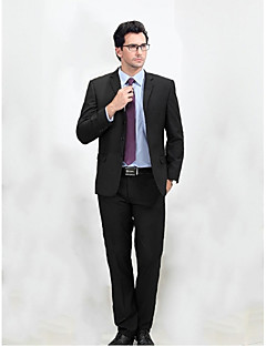 Suits Standard Fit Notch Single Breasted Three-buttons Wool & Polyester Blended Solid 2 Pieces Black Straight Flapped