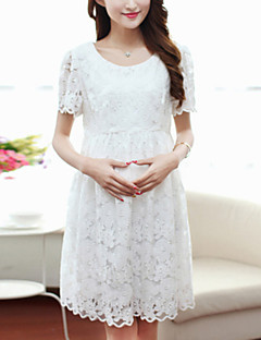 Maternity Sweet Round Collar Lace Slim Short Sleeve Dress