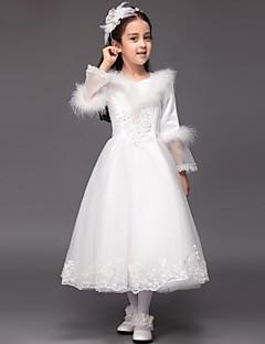 Ball Gown Tea-length Flower Girl Dress - Satin / Tulle Long Sleeve V-neck with Appliques / Ruffles