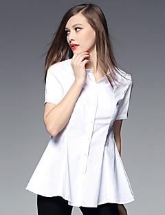 AJIDUO® Damen Hemdkragen Kurze Ärmel Shirt & Bluse Schwarz / Weiß-A9375