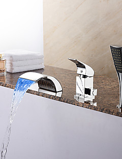 Zeitgenössisch Romanische Wanne LED Wasserfall Handdusche inklusive with  Keramisches Ventil Einhand Drei Löcher for  Chrom ,