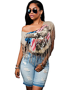Women's Casual/Daily Simple Summer T-shirt,Print Off Shoulder Short Sleeve Gray Cotton Thin