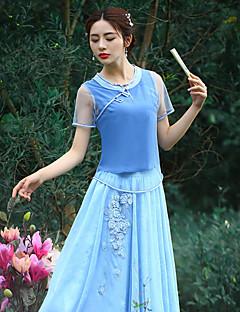 Damen Solide Chinoiserie Ausgehen T-shirt,Rundhalsausschnitt Sommer Kurzarm Blau Polyester Mittel