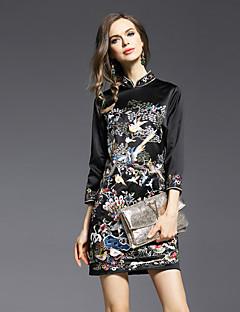 Jojo Hans kvinders skede dressembroidered stå over knæet langærmet sort polyester foråret