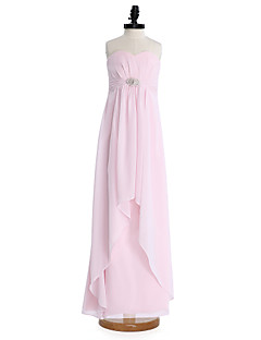 Lanting Bride® Floor-length Chiffon Junior Bridesmaid Dress Sheath / Column Sweetheart with Draping / Sash / Ribbon / Crystal Brooch