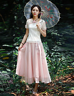Our Story Women's Embroidered Pink SkirtsVintage Maxi