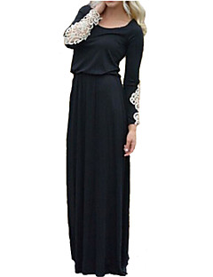 Women's Casual/Daily Simple Little Black / Swing Dress,Patchwork Round Neck Maxi Long Sleeve Black Polyester / Spandex Spring Mid Rise