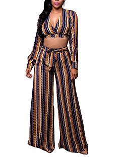 Damen Gestreift Sexy Ausgehen / Lässig/Alltäglich / Party/Cocktail T-shirt Hose,V-Ausschnitt Alle Saisons Langarm Gelb / Mehrfarbig