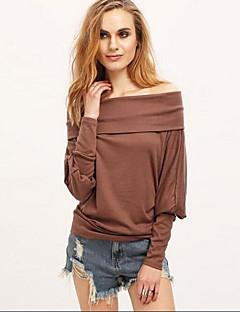 여성의 솔리드 오프 숄더 긴 소매 티셔츠,심플 캐쥬얼/데일리 화이트 / 브라운 레이온 가을 / 겨울 중간