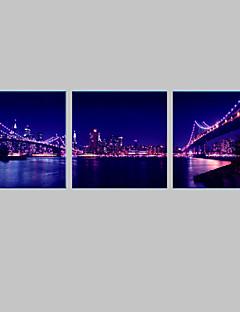 E-Home® Stadt Brücke Nacht Leinwanddruck mit LED-Leuchten-Set 3