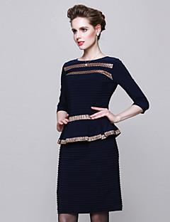 Damen Hülle Kleid-Ausgehen Einfach Einfarbig Rundhalsausschnitt Übers Knie ½ Länge Ärmel Blau Polyester Herbst Mittlere Hüfthöhe