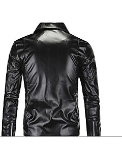 Men's Long Sleeve Casual JacketPU Solid Black