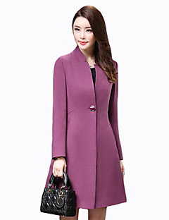 Women's Plus Size / Casual/Daily Street chic Trench CoatSolid Stand Long Sleeve Fall / Winter Polyester Medium