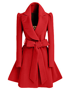 Women's Casual/Daily Street chic CoatSolid Shirt Collar Long Sleeve Fall / Winter Red / Black / Brown Cotton Medium