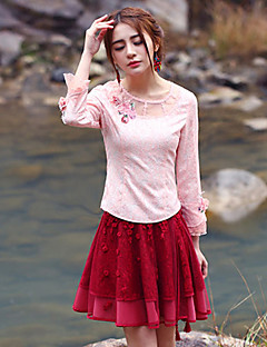 Our Story Going out Vintage Spring / Fall T-shirtJacquard Round Neck Long Sleeve Pink Polyester Medium