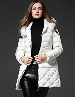 frmz Frauen solid weiß nach unten coatsimple mit Kapuze langärmliges