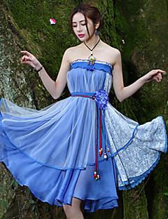 Kvinders Kineseri Knælang Nederdele Uelastisk Polyester