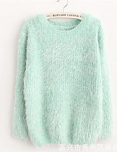 Damen Standard Pullover-Lässig/Alltäglich Einfach / Niedlich Solide Blau / Rosa / Beige / Grau / Grün / Lila Rundhalsausschnitt Langarm