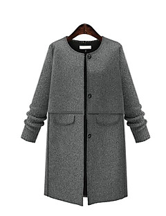 Women's Plus Size / Casual/Daily Street chic CoatSolid Round Neck Long Sleeve Fall / Winter Gray Cotton Medium