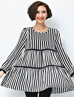 Women's Plus Size / Casual/Daily Simple / Street chic Loose DressStriped Round Neck Above Knee Long Sleeve