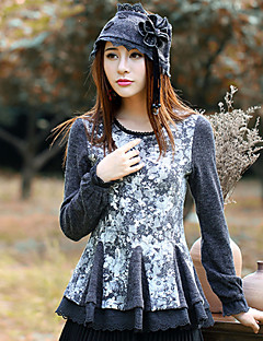 Damen Standard Pullover-Ausgehen Retro Blumen Rundhalsausschnitt Langarm Wolle Polyester Elasthan Frühling Herbst Mittel Mikro-elastisch