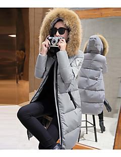 Women's Solid Black / Gray / Green Down CoatSimple Hooded Long Sleeve