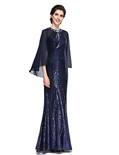 LAN TING BRIDE Trumpet / Mermaid Mother of the Bride Dress - Elegant Floor-length Long Sleeve Chiffon Sequined with Sequins
