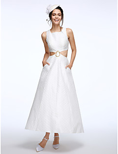 LAN TING BRIDE A-line Wedding Dress Little White Dress Ankle-length Square Kapok Fabric with Beading