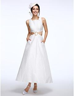 LAN TING BRIDE A-linje Bryllupskjole Små Hvite Kjoler Ankellang Firkantet Kapok-stoff med Perlearbeid