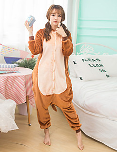 Unisex Cashmere / Polyester Cute Cartoon One-piece Pajama Winter Thick Warm Sleepwear Brown