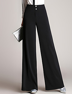 Women's OL Style Solid Black Business / Wide Leg TrousersSimple Plus Size