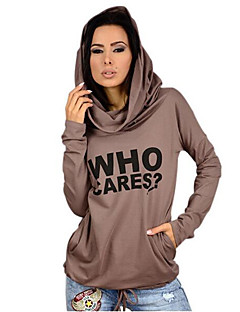 Women's Going out / Casual/Daily Simple Spring / Fall T-shirtLetter Hooded Long Sleeve