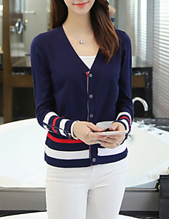 Women's Casual/Daily Regular Cardigan,Striped / Color V Neck Long Sleeve Cotton / Acrylic / Polyester