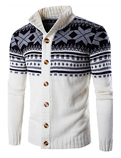 Men's Casual/Daily Sports Regular Cardigan,Color Block Long Sleeve Cotton Fall Winter