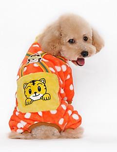 Cat / Dog Clothes/Jumpsuit / Pajamas Orange / Yellow / Pink / Dark Blue Dog Clothes Winter / Spring/Fall Cartoon / Polka Dots / Animal