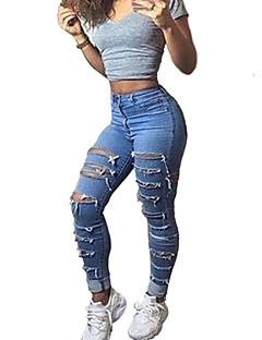 Kvinders Vintage / Street Tætsiddende / Jeans / Chinos Bukser Mikroelastisk Polyester