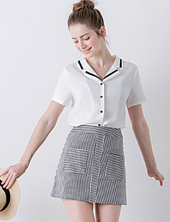 Damen Solide / Patchwork Einfach Ausgehen T-shirt,V-Ausschnitt Sommer Kurzarm Weiß Polyester Mittel