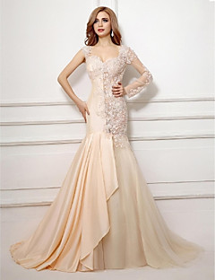 Formal Evening Dress Trumpet / Mermaid Sweetheart Court Train Taffeta / Tulle with Appliques / Beading