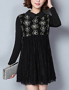 Women's Plus Size / Casual/Daily / Beach Vintage / Cute / Active A Line / Loose / Lace DressSolid Square