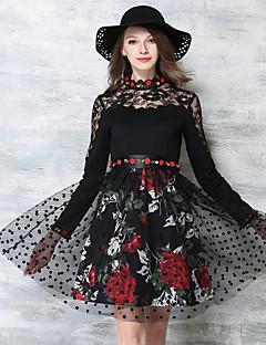 Feminino Evasê Vestido,Happy-Hour / Festa/Coquetel / Férias Vintage / Moda de Rua / Sofisticado Floral Colarinho Chinês Acima do Joelho