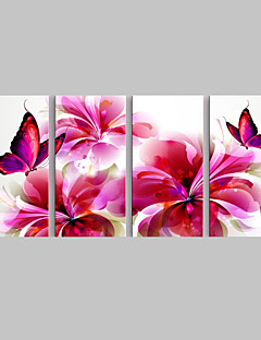 e-Home® strakt lærred kunst rød sommerfugl og blomster dekoration maleri sæt med 4
